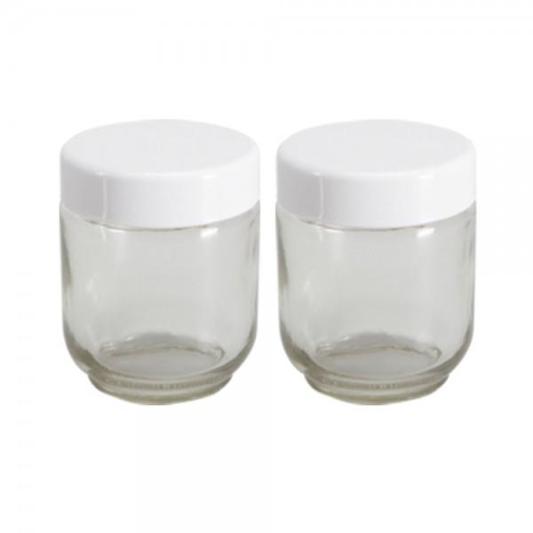 Gläser mit Deckel weiß (2er Set) (Nr. 4) für