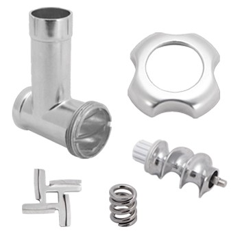 Meat grinder casing made of metal -Transport screw -Spring -Cross blade -Ring clamp